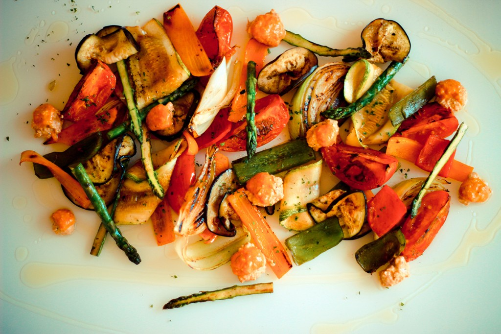 Grilled vegetables with truffle oil
