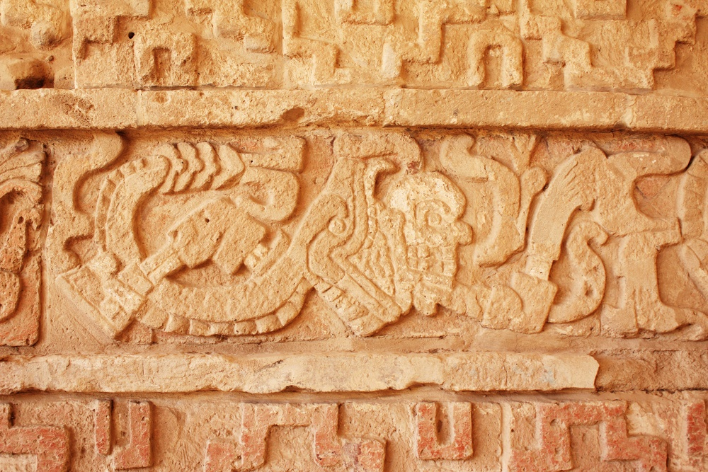 Mural de la zona arqueologica de Tula de Allende