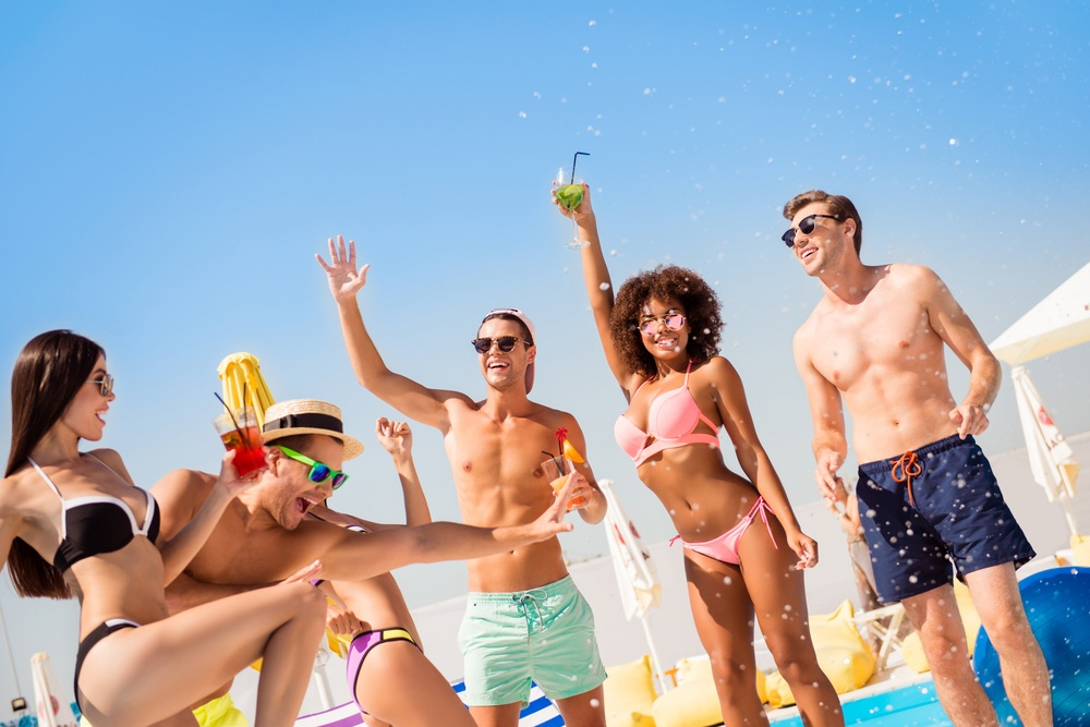 Amigos en beach club tulum